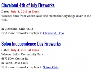 Cleveland firework events