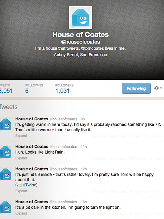Tom Coates, of San Francisco, uses Twitter to monitor the home automation in his home.